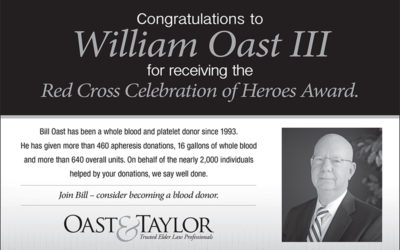 Congratulations to William Oast III for receiving the Red Cross Celebration of Heroes Award